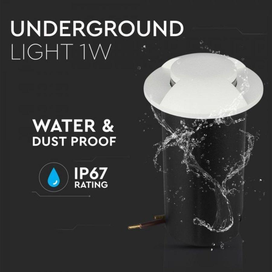 Ground Spot Aluminum Round White 1 Watt 3000K IP67 12V - 2 Lights