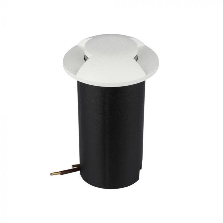 Grondspot Aluminium Rond Wit 1 Watt 3000K IP67 12V - 2 Lichts