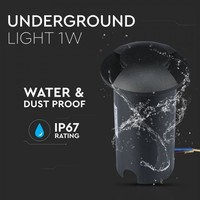 Ground Spot Aluminum Round Black 1 Watt 3000K IP67 12V - 2 Lights
