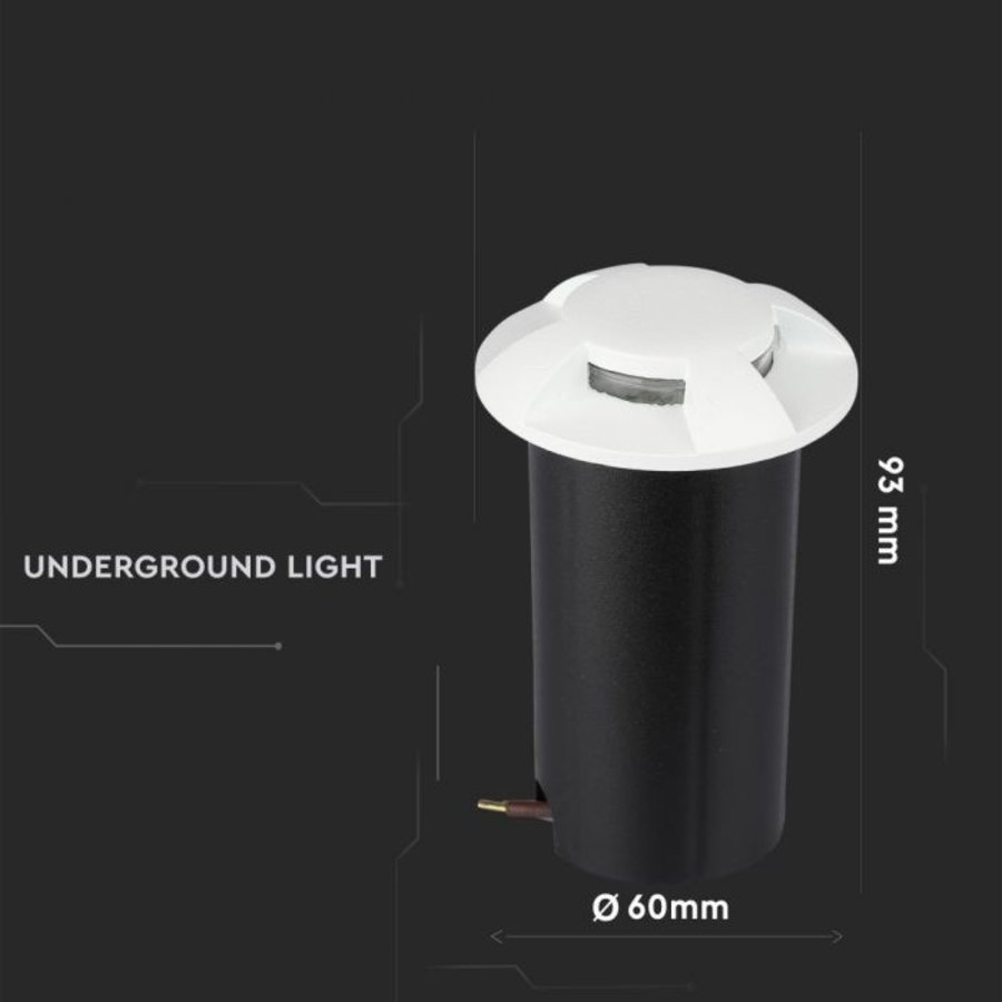 Ground Spot Aluminum Round White 1 Watt 3000K IP67 12V - 4 Lights