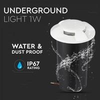 Bodenstrahler Aluminium Rund Weiß 1 Watt 3000K IP67 12V - 4 Lichter