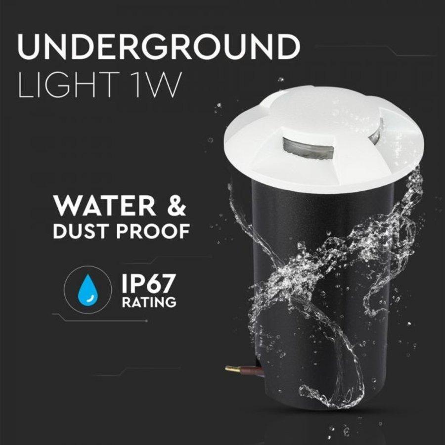 Grondspot Rond Wit 1 Watt 3000K IP67 12V  - 4 Lichts