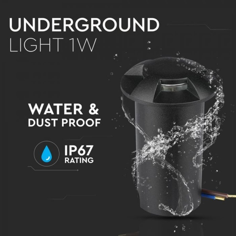 Ground Spot Aluminum Round Black 1 Watt 3000K IP67 12V - 4 Lights