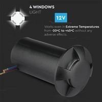 Bodenstrahler Aluminium Rund Schwarz 1 Watt 3000K IP67 12V - 4 Lichter