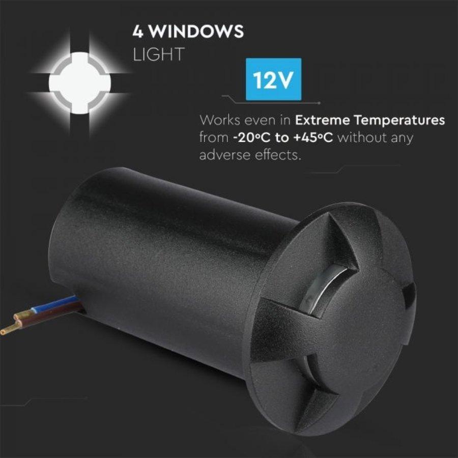 Grondspot Aluminium Rond Zwart 1 Watt 3000K IP67 12V - 4 Lichts