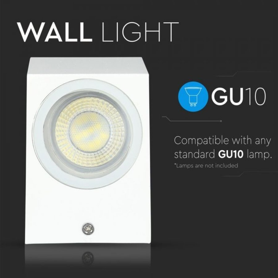 Tweezijdig Oplichtende Buitenlamp Wand Vierkant Wit GU10 IP44