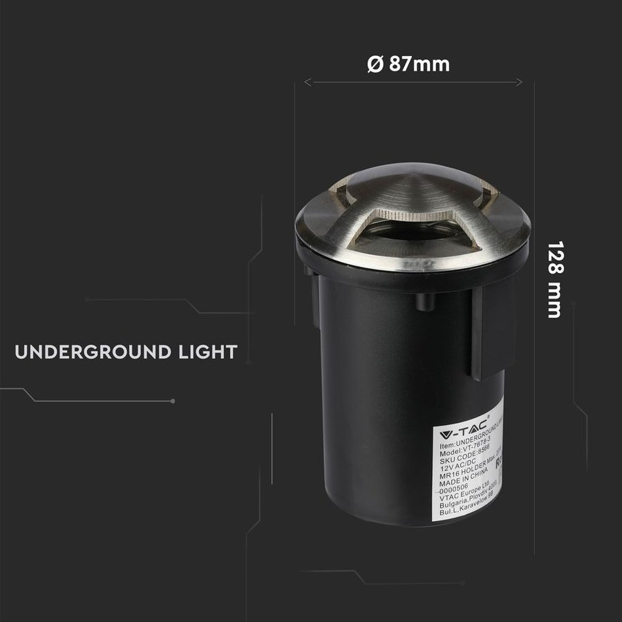 Grondspot RVS 12V rond MR16 fitting IP67 waterdicht - 3 Lichts