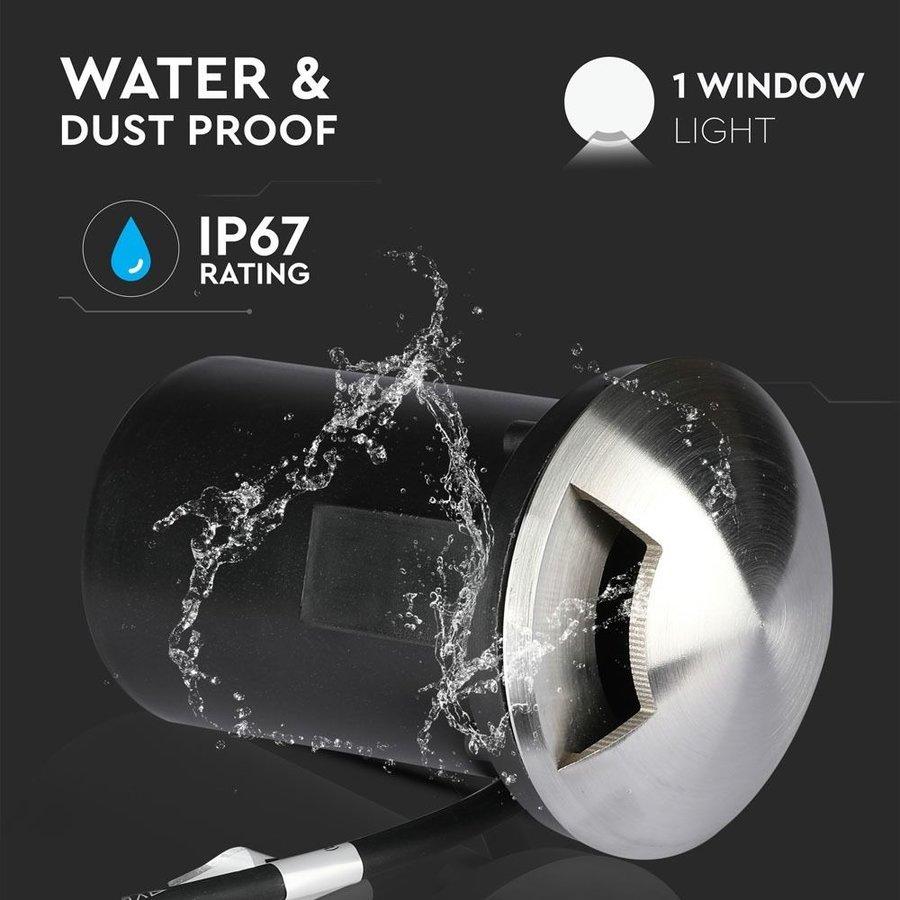 Grondspot RVS 12V rond MR16 fitting IP67 waterdicht - 1 Lichts