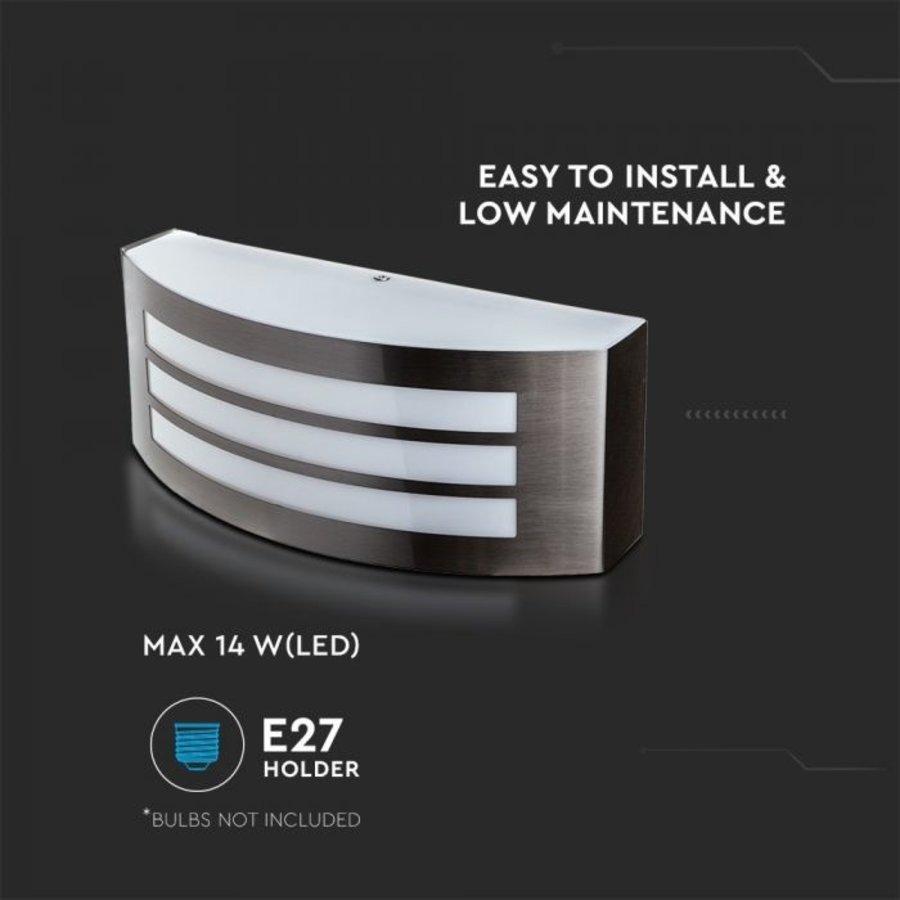 RVS wand buitenlamp met E27 fitting IP44 vochtbestendig en 3 jaar garantie
