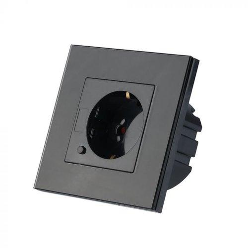 V-TAC Slim stopcontact zwart - Koppelbaar met Google Home & Alexa