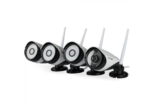 V-TAC Set of 4 Wifi security camera for indoor and outdoor HD 1080P incl. Router. White
