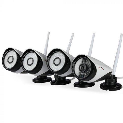 V-TAC Set van 4 Wifi Beveilingscamera voor binnen en buiten HD 1080P incl. Router. Wit