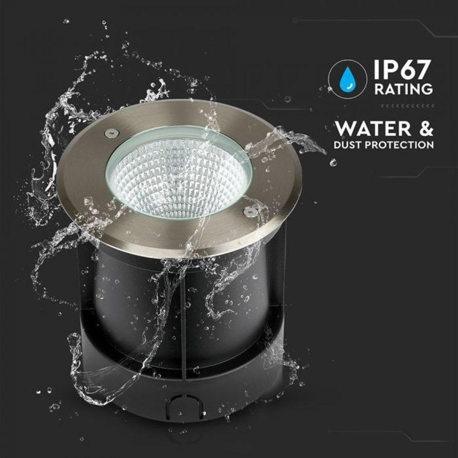 Grondspot XL RVS rond 12 Watt 4000K IP67 waterdicht 2 jaar garantie