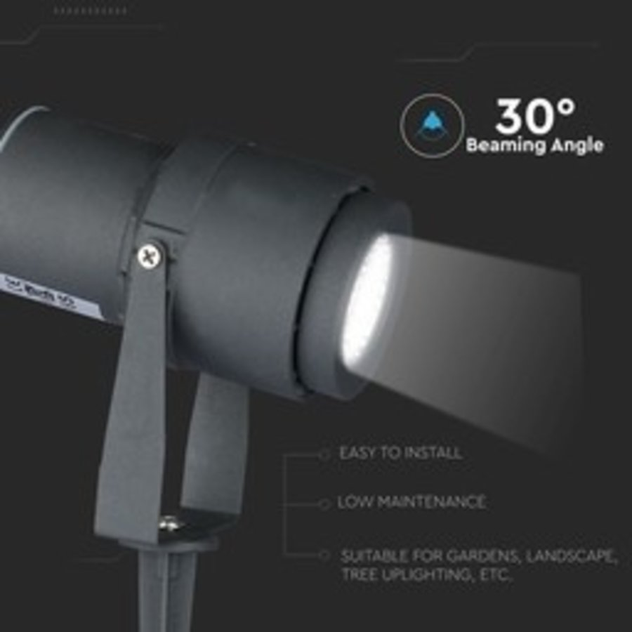 Set van 3 LED aluminium prikspots 12 Watt  3000K IP65 antraciet