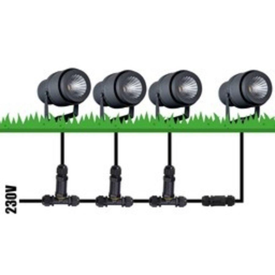 Set van 6 LED aluminium prikspots 12 Watt 4000K IP65 zwart
