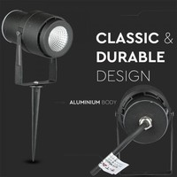 Set van 6 LED aluminium prikspots 12 Watt  3000K IP65 Zwart