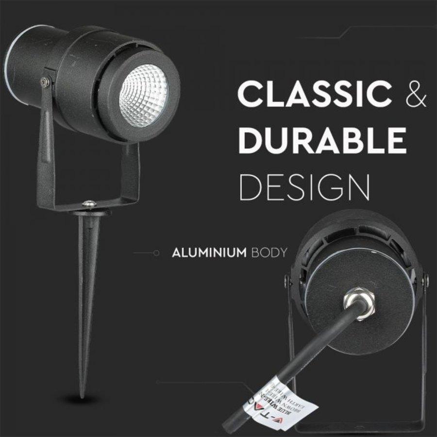Set van 9 LED aluminium prikspots 12 Watt  3000K IP65 Zwart