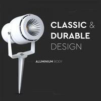 Set van 6 LED aluminium prikspots 12 Watt  3000K IP65 wit