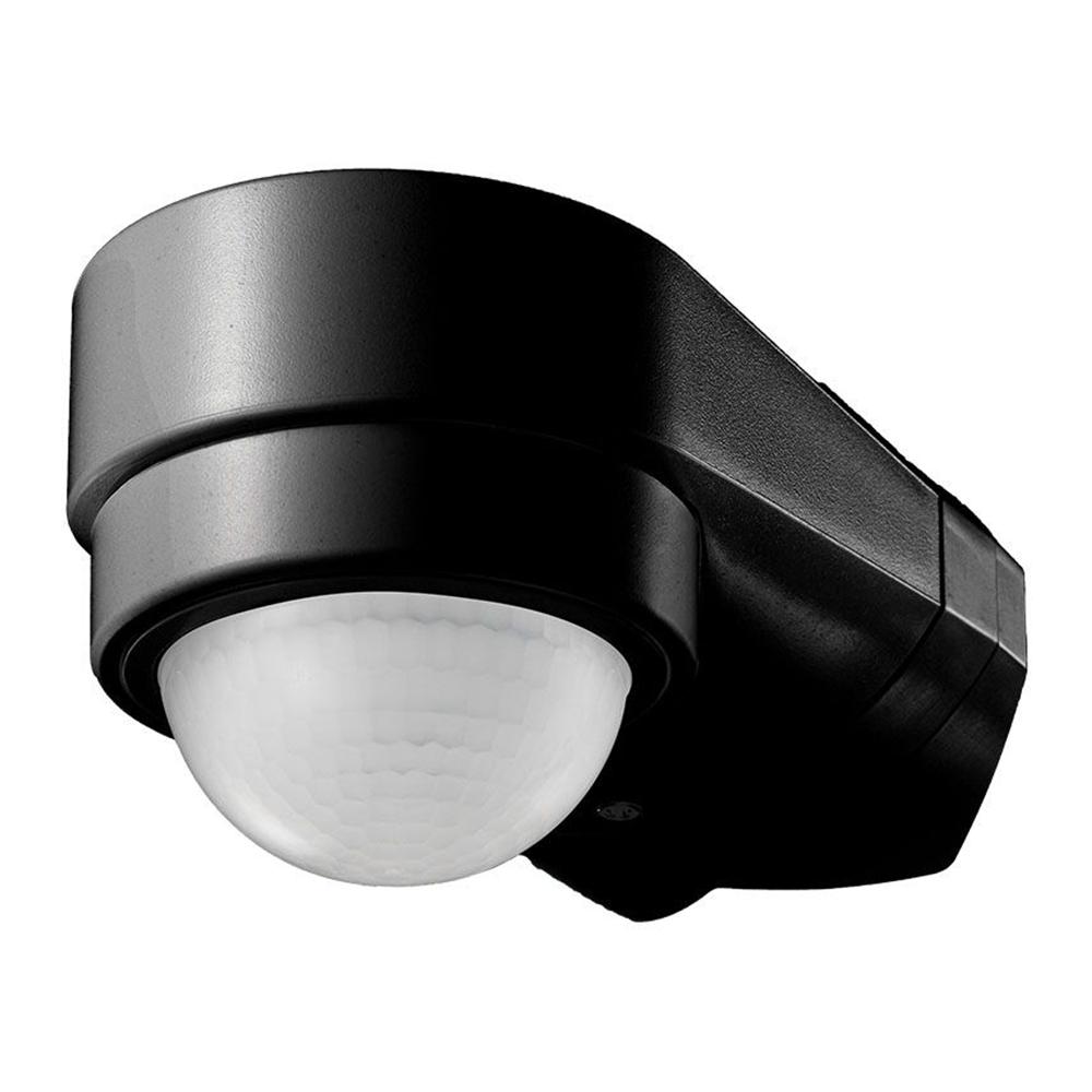 PIR bewegingssensor met schemerschakelaar 240° bereik 10 meter Maximaal 600 Watt opbouw kleur zwart
