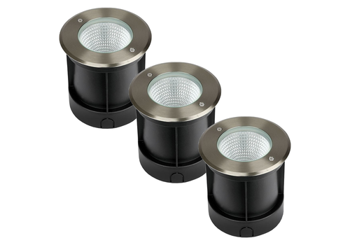 Set of 3 ground spots stainless steel round 12 Watt 4000K IP67 waterproof