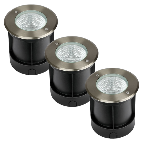 V-TAC Set of 3 ground spots stainless steel round 12 Watt 4000K IP67 waterproof