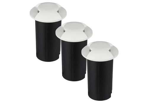 Set of 3 ground spots round white 3000K 1 Watt IP67 12V - 2 Lights