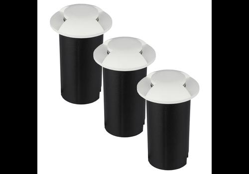 V-TAC Set van 3 grondspots rond wit 3000K 1 Watt IP67 12V - 2 Lichts