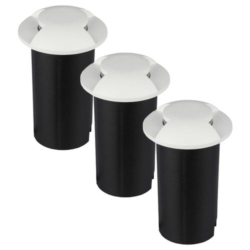 Set of 3 ground spots stainless steel round white 3000K 1 Watt IP67 12V - 2 Lights