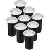 Set van 9 grondspots rond wit 3000K 1 Watt IP67 12V - 2 Lichts