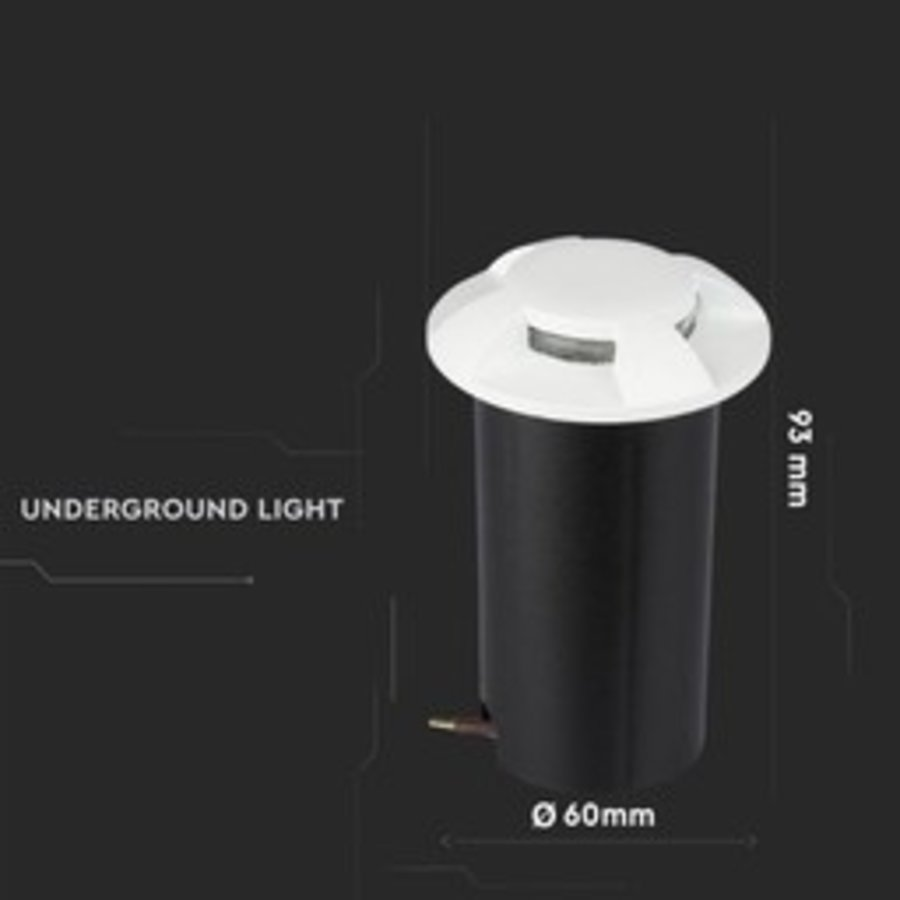 Set van 3 grondspots rond wit 3000K 1 Watt IP67 12V - 4 Lichts