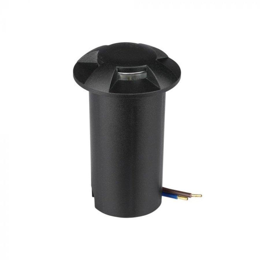 Set of 9 ground spots stainless steel round black 3000K 1 Watt IP67 12V - 4 Lights