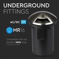 Set of 9 ground spots round Stainless Steel IP67 MR16 3000K - 1 Light