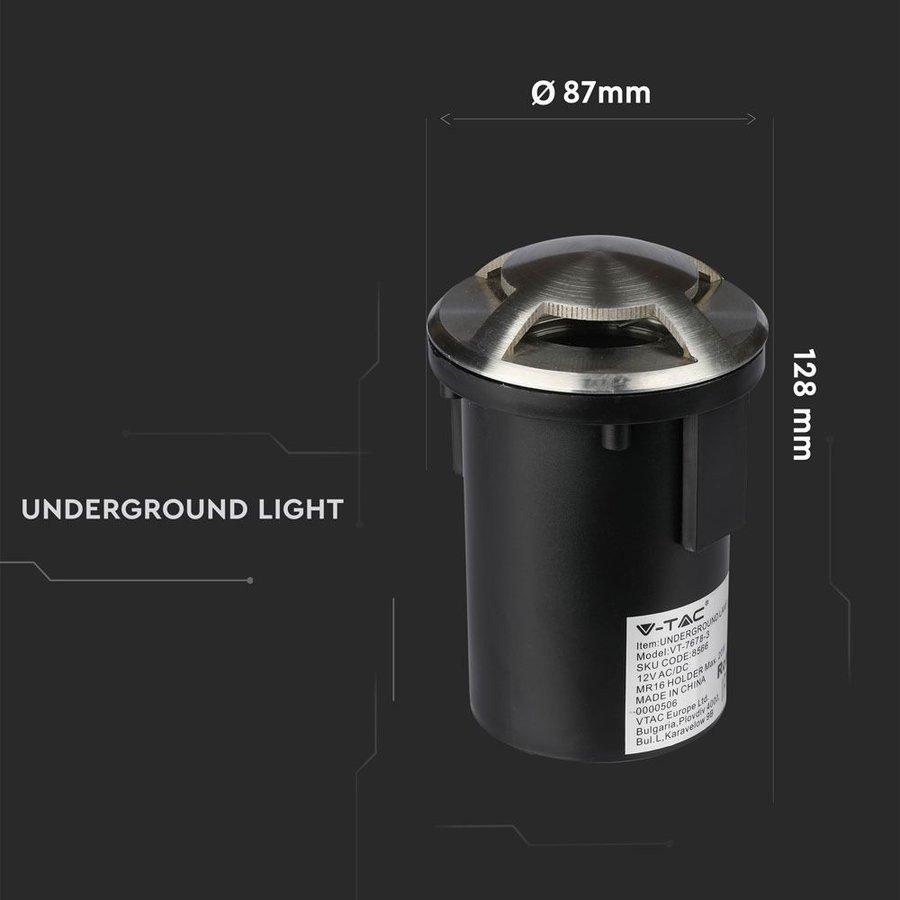 Set of 6 ground spots 12V Round Stainless Steel IP67 MR16 3000K  - 3 Lights