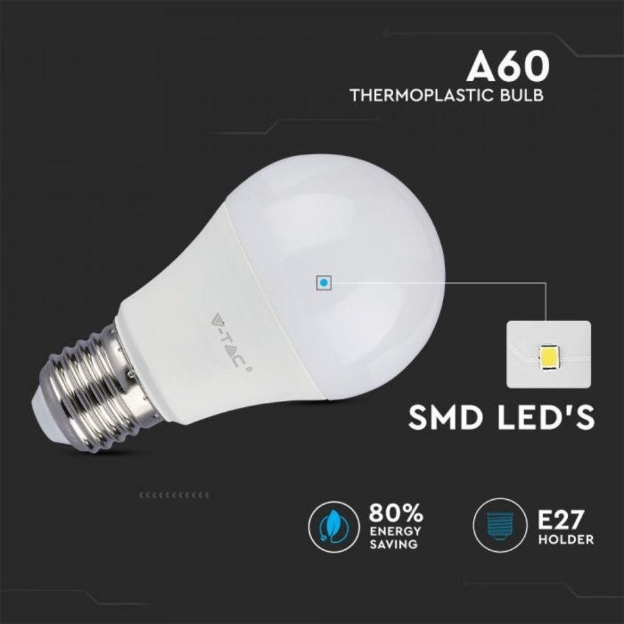 10-Pack E27 LED Lamp 11 Watt 6400K A60 Vervangt 75 Watt