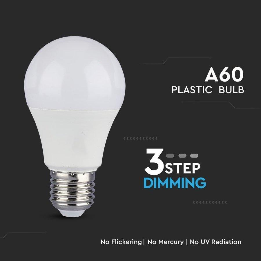 E27 LED Lamp 9 Watt 4000K Vervangt 60 Watt A60 3 Staps Dimbaar