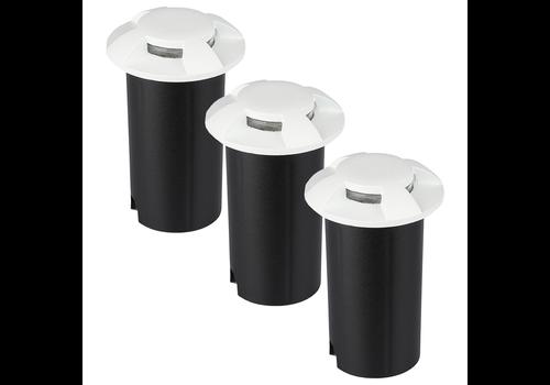 Set of 3 ground spots stainless steel round white 3000K 1 Watt IP67 12V - 4 Lights
