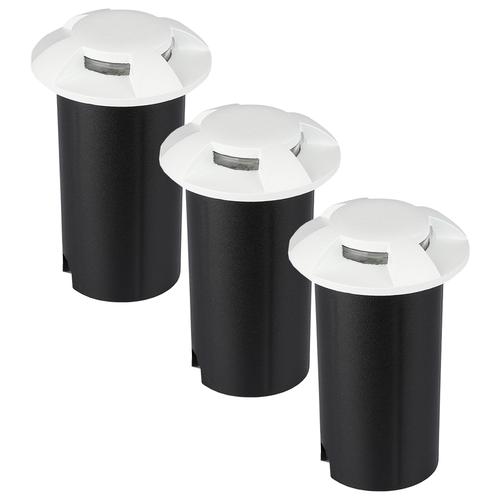 Set van 3 grondspots aluminium rond wit 3000K 1 Watt IP67 12V - 4 Lichts