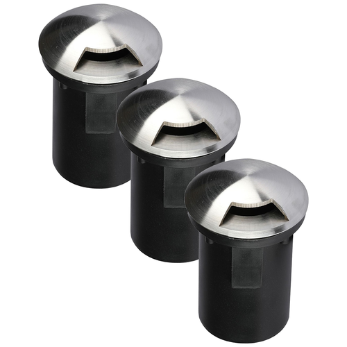 Set of 3 ground spots round Stainless Steel IP67 MR16 3000K - 1 Light