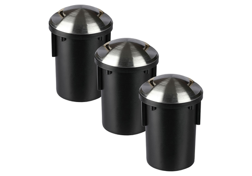Set of 3 ground spots Round Stainless Steel IP67 MR16 3000K - 2 Lights