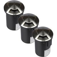 Set of 3 ground spots 12V Round Stainless Steel IP67 MR16 3000K - 3 Lights