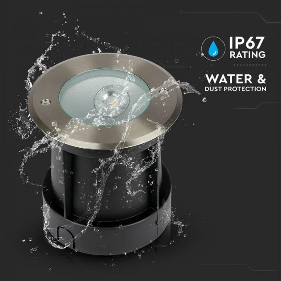 Set van 6 grondspots RVS rond 8 Watt 4000K Oblique 20° IP67 waterdicht 2 jaar garantie