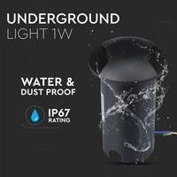 Grondspot Rond Zwart 1 Watt 6500K IP67 12V - 2 Lichts