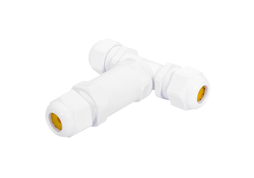Cable connector T-shape IP68 waterproof white