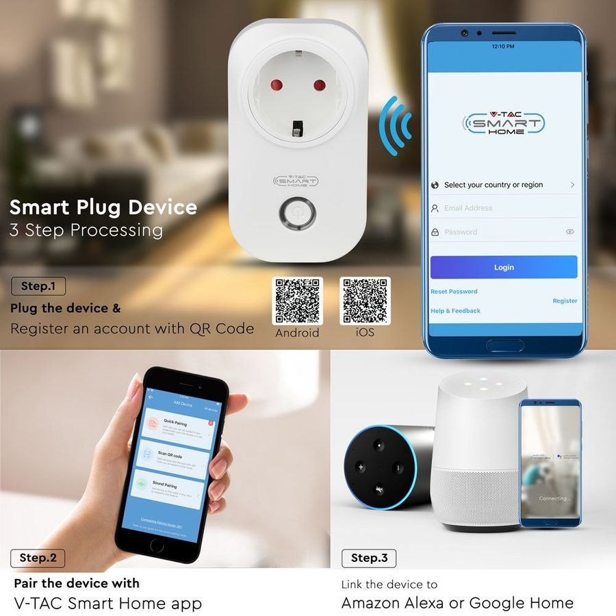 Smart plug with time switch with Amazon Alexa & Google home white