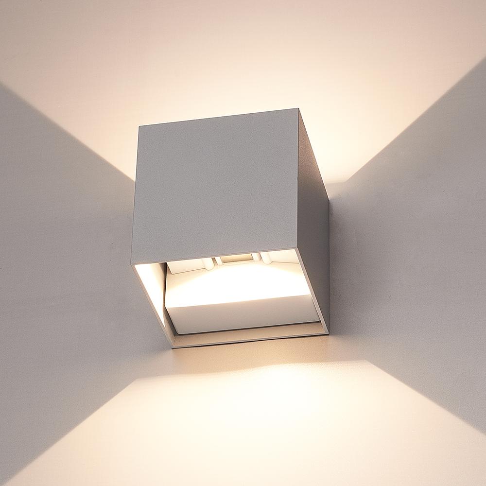 Dimbare LED Wandlamp Kansas grijs 6 Watt 3000K Up & Down light IP54