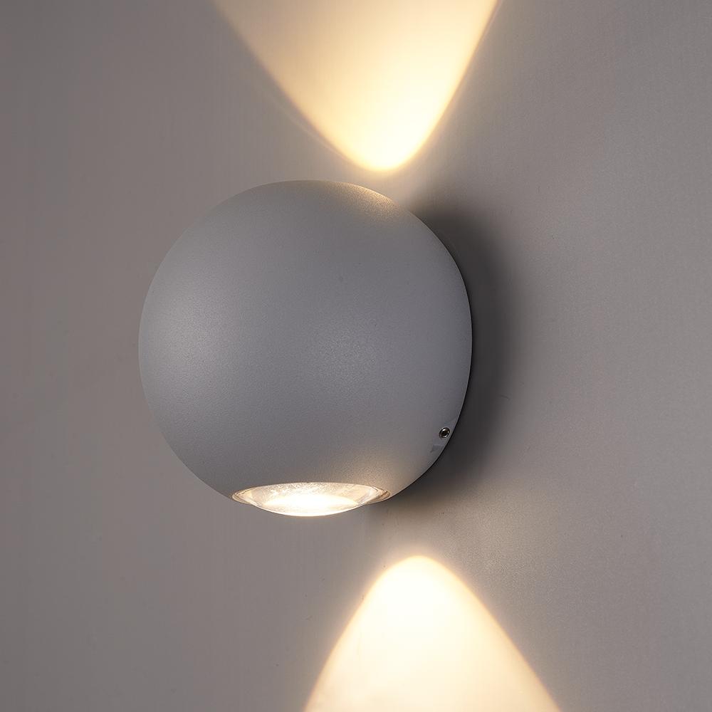 LED Wandlamp Houston grijs 2 Watt 3000K tweezijdig oplichtend IP54 spuitwaterbestendig 3 Jaar garant