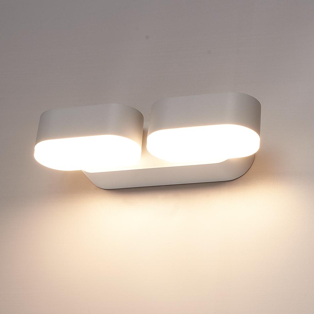 Dimbare LED Wandlamp Dayton dubbel grijs 12 Watt 3000K kantelbaar IP54 spatwaterdicht 3 jaar garanti