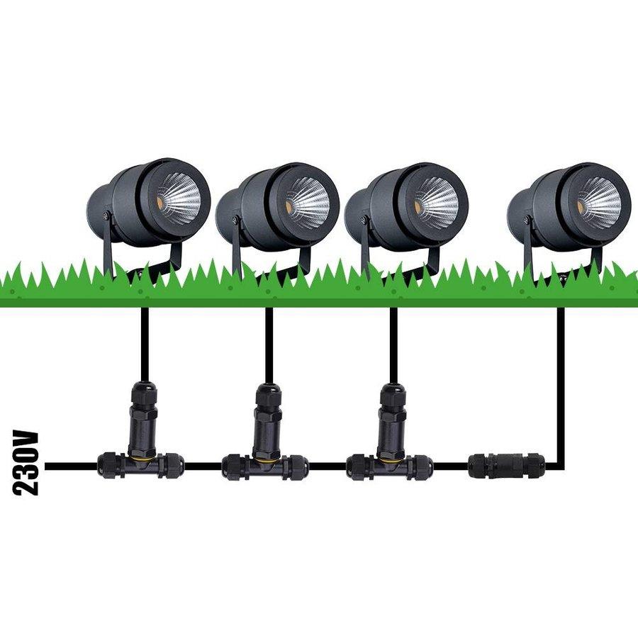 Set of 3 LED aluminium gardenspikes 12 Watt 720 lumen 4000K IP65 waterproof anthracite