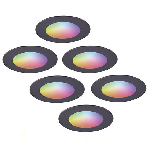 Homeylux Set van 6 stuks smart WiFi LED inbouwspots Aura RGBWW Zwart IP44 1050lm