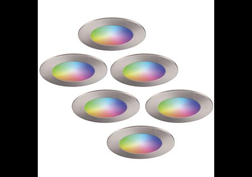 Homeylux Set van 6 stuks smart WiFi LED inbouwspots Aura RGBWW RVS IP44 1050lm